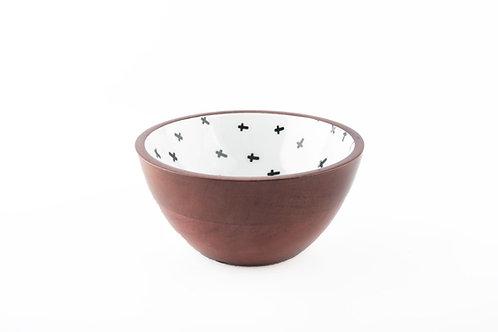 Serving Bowl Wooden Cross Black