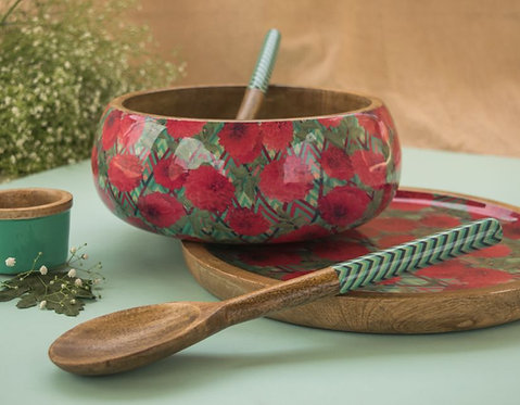 Salad Bowl + Server Set Wooden Green and Pink Flowers