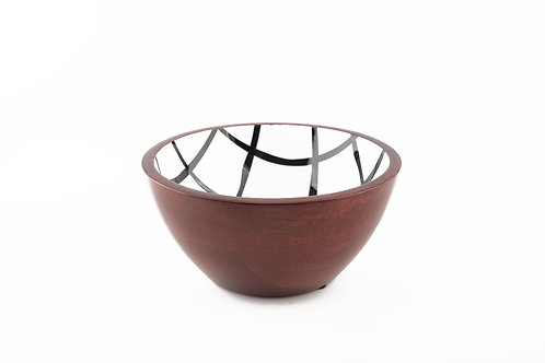 Serving Bowl Wooden B&W Checks