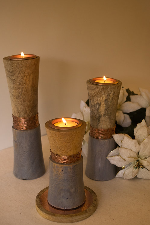 Wooden Wired T-Light Holders - Rose Gold