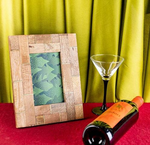 Photo Frame Wood Brass Inlay