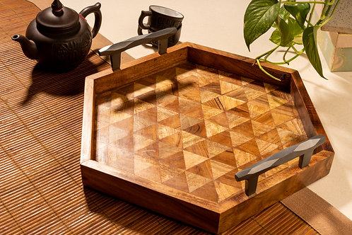 Tray Wooden Hex Mosaic