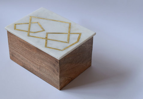 Marble Box Rectangle Wood/Brass