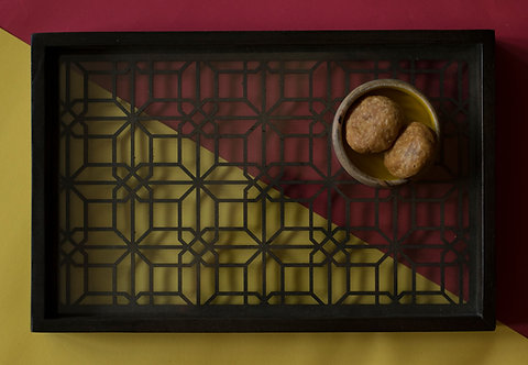 Tray Wooden Glass Cutwork