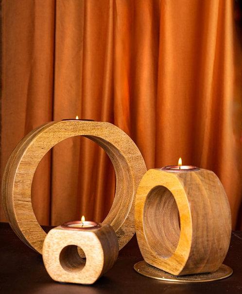 Wooden T-Light Holder - Round Hollow - Set of 3