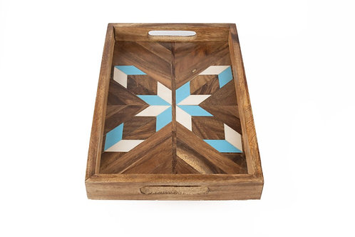 Blue and White Resin Tray