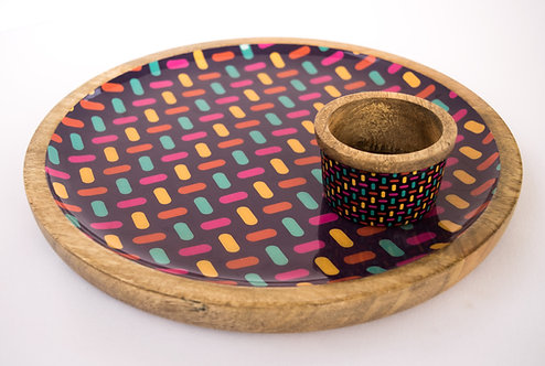 Platter + Small Dipping Bowl Wooden Purple Colour Bar