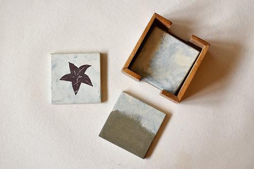 White Cement Coasters Starfish