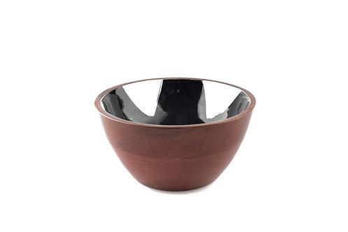 Serving Bowl Wooden Black Brush