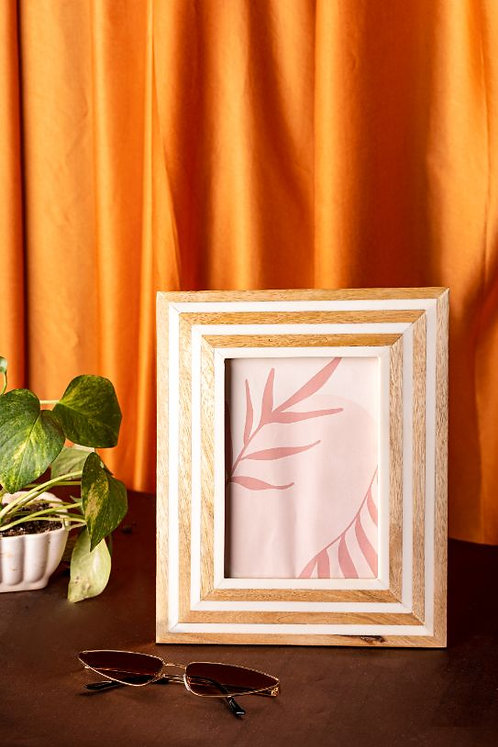 Photo Frame Wood and White Resin