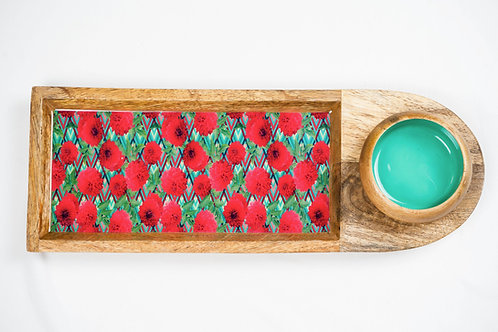 Chip and Dip Platter - Green with Pink Flowers