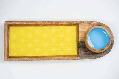 Chip and Dip Platter - Light Blue with Yellow Flowers