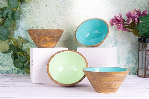 Serving Bowl Wooden Light Green