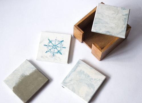 White Cement Coasters Wheel