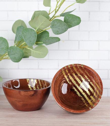 Serving Bowl Wooden Gold Stripes