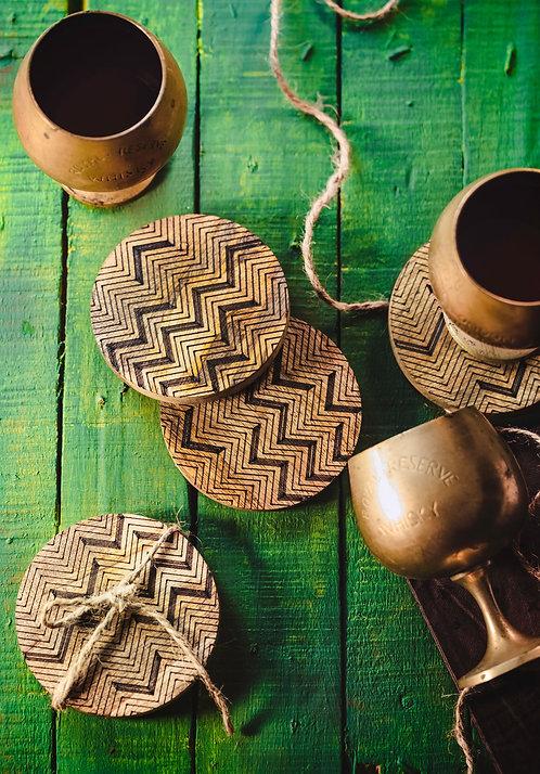 Coasters Wooden Zig-Zag