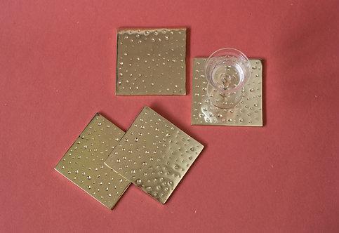 Coasters Beaten Metal Gold