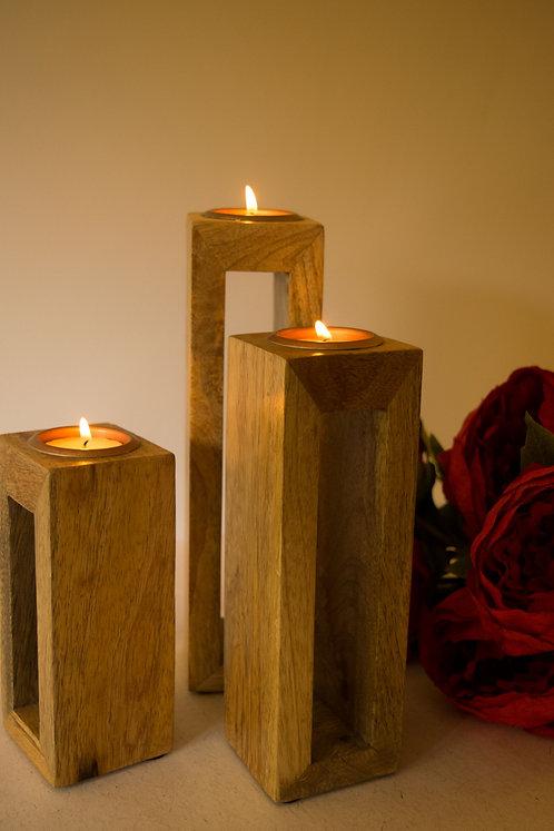 Wooden T-Light Holder - Hollow - Set of 3