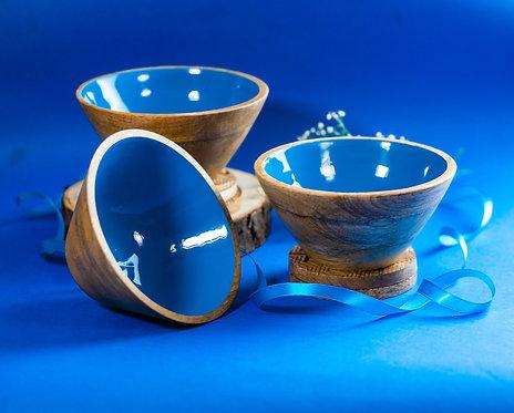 Serving Bowl Wooden Blue