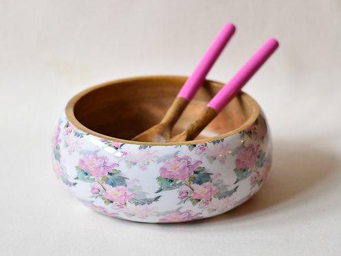 Salad Bowl + Server Set Wooden White with Pink Flowers