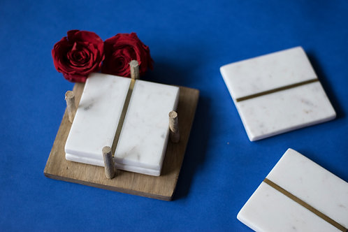 Coasters Marble Square White/Brass