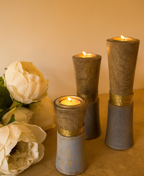Wooden Wired T-Light Holders - Gold