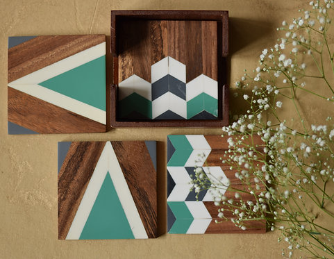 Wooden Chevron Coasters - Sea Green