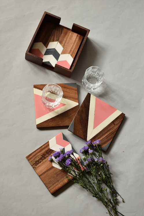 Wooden Chevron Coasters - Rose Pink
