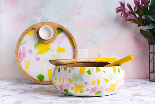 Salad Bowl + Server Set Wooden Confetti White
