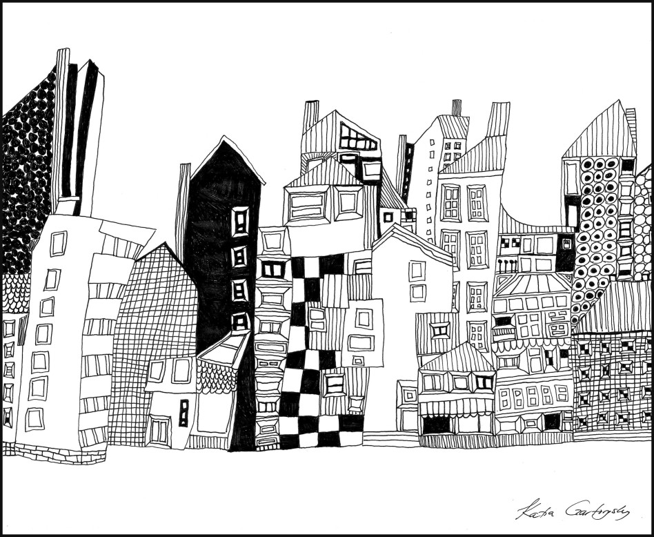 Cityscape Ink on Paper Abstract Still Life