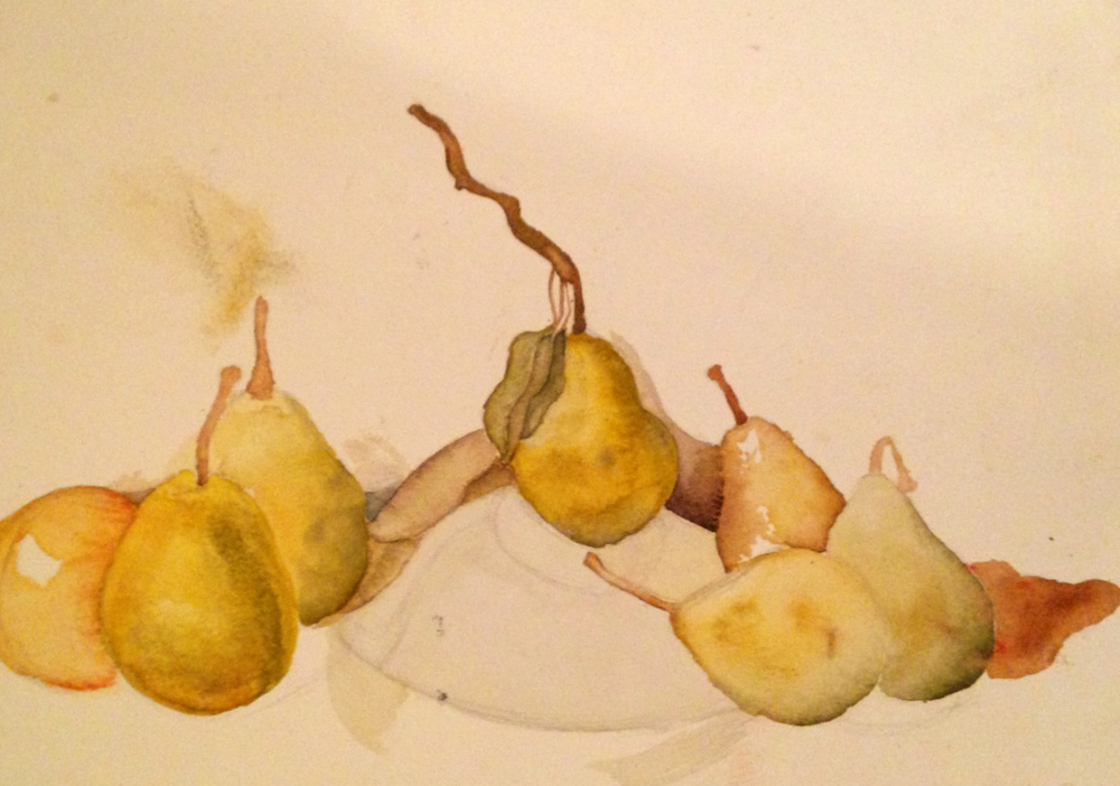 Pears Watercolor on Canvas Still Life