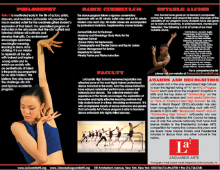 LaGuardia High School Dance Brochure Side 2