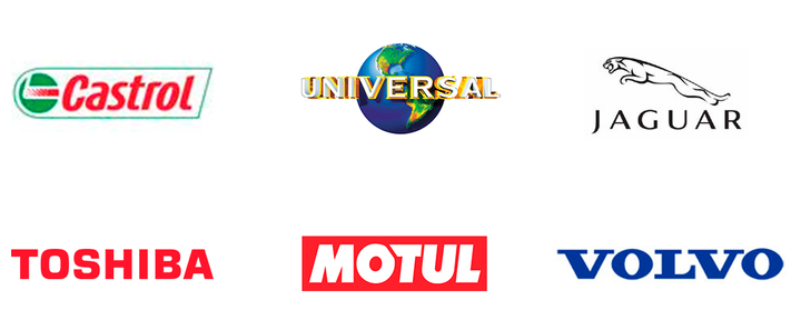 Some of the brands we've worked with: Castrol | Universal | Jaguar | Toshiba | Motul | Volvo