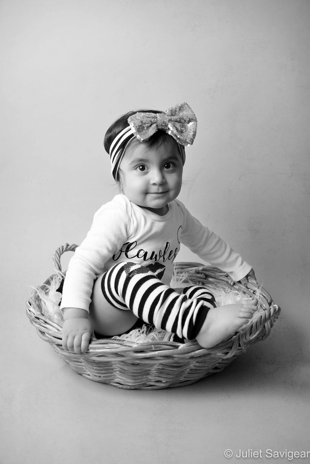 Baby Girl In A Basket - First Birthday Photography, London