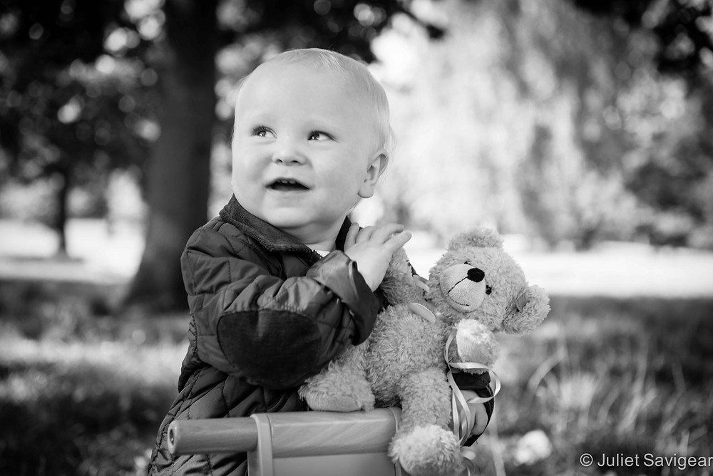 With Teddy - First Birthday Photo shoot - Clapham Common