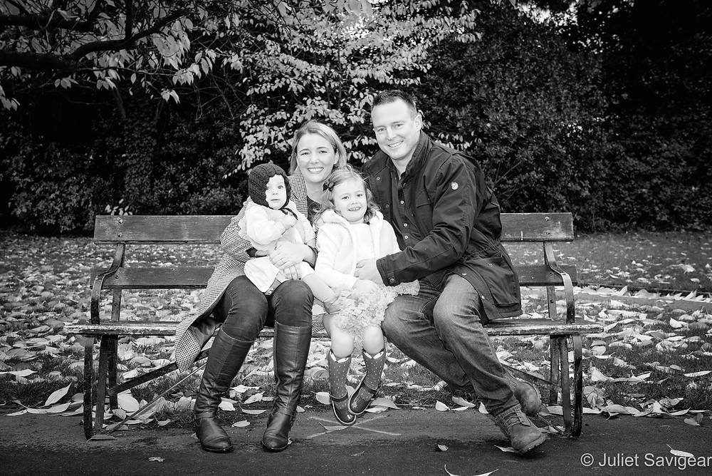 Family portrait outdoors in the park