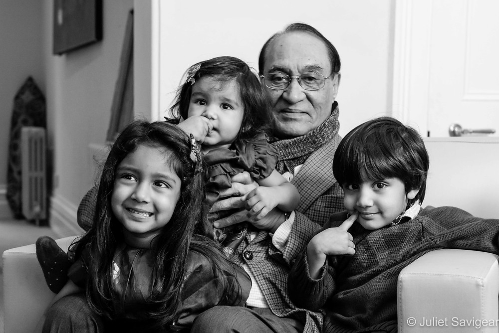 Grandfather with three grandchildren