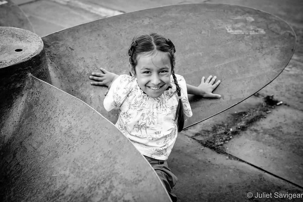 Child sat in propeller