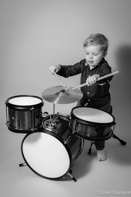 Boy with drum kit