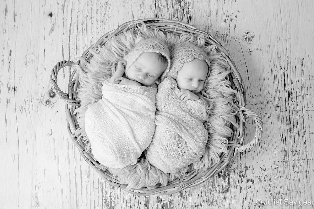 Newborn Baby Twins In Basket