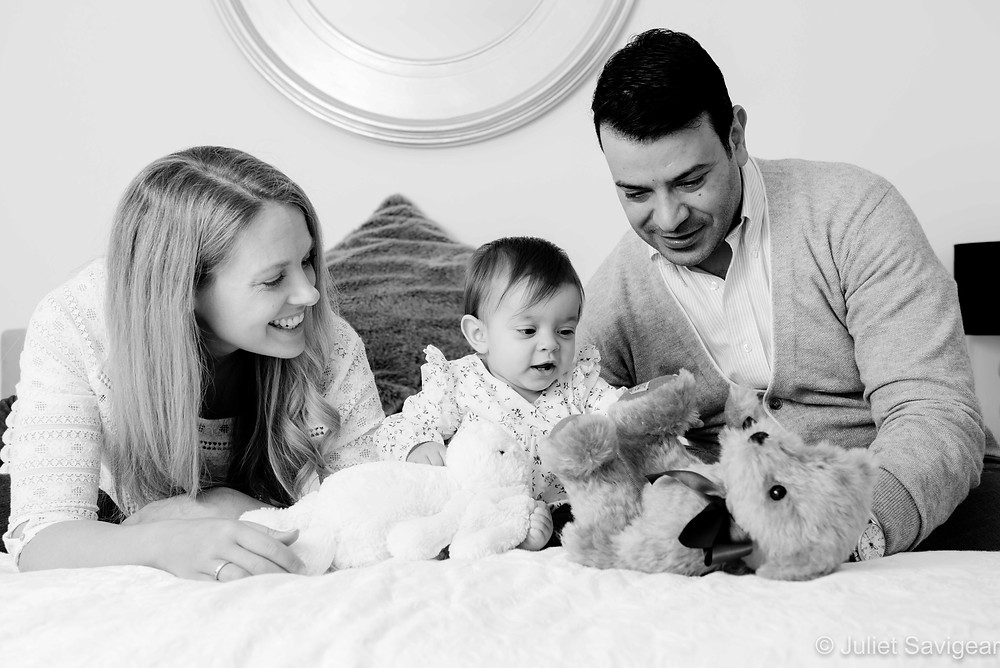 Family portrait with soft toys