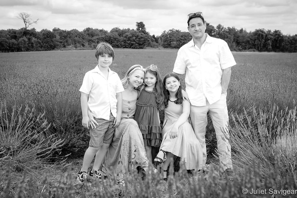 Family portrait in the lavender fields