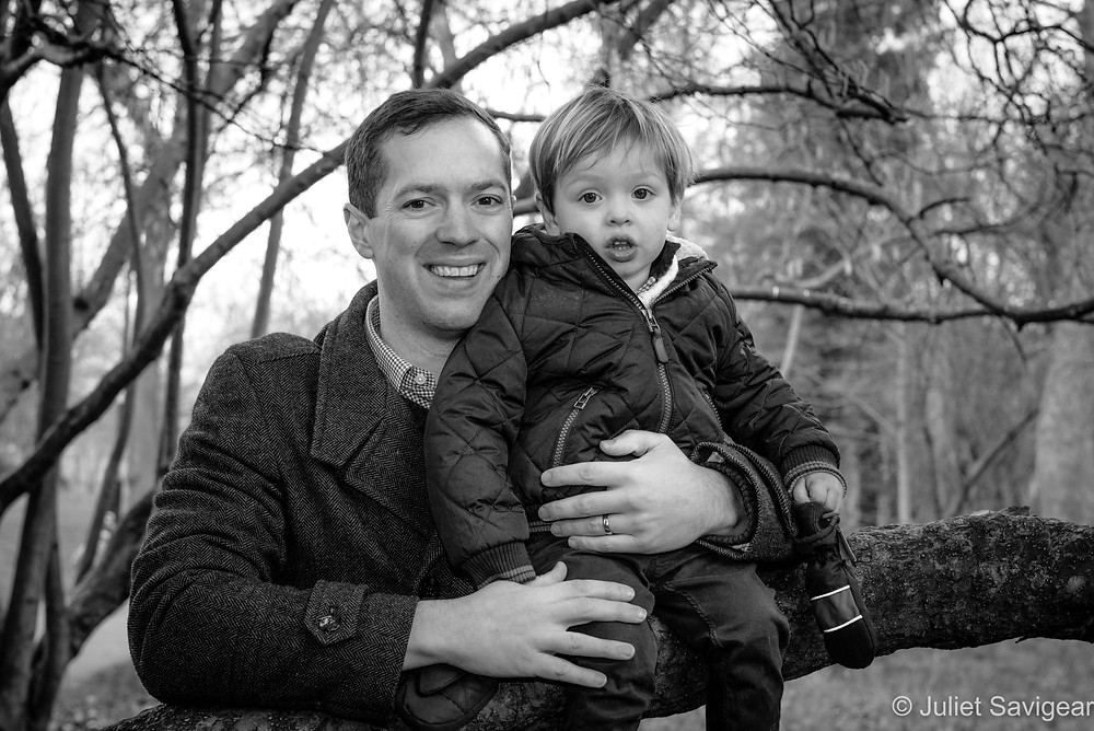 Father & toddler in the tree