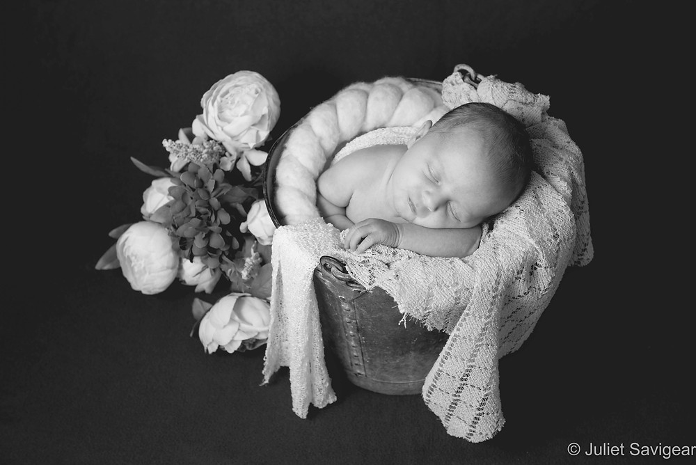 Newborn baby in bucket with flowers