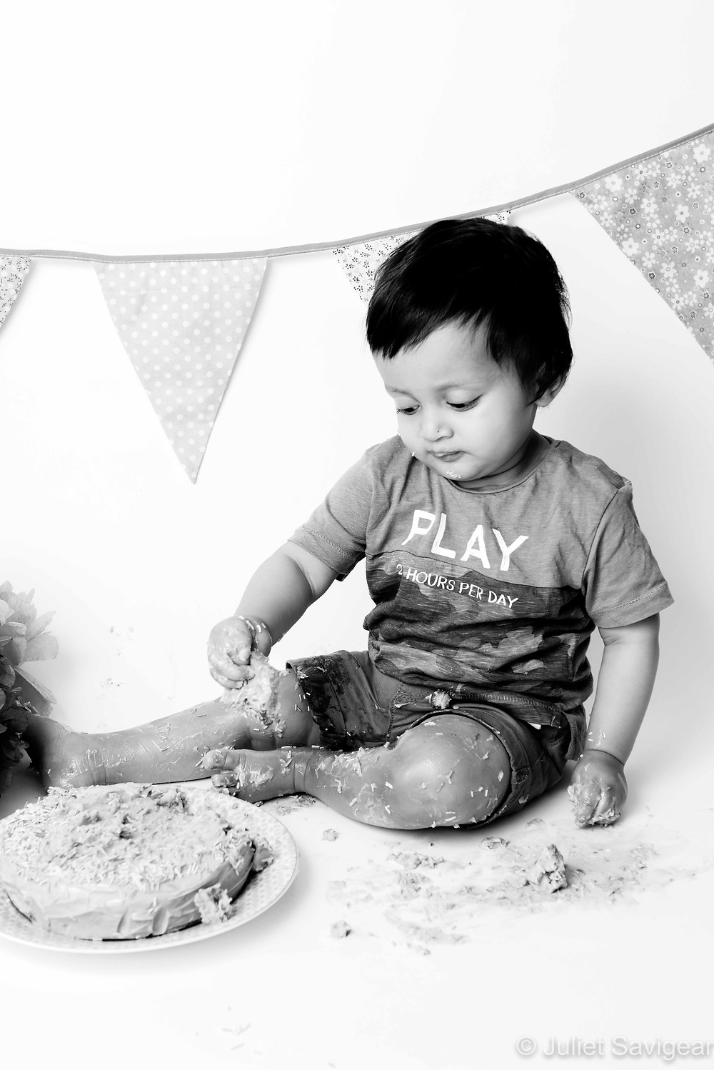Getting messy with the cake smash