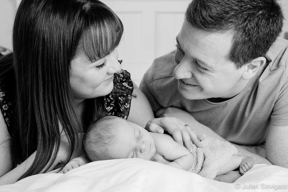 Family photo with newborn baby