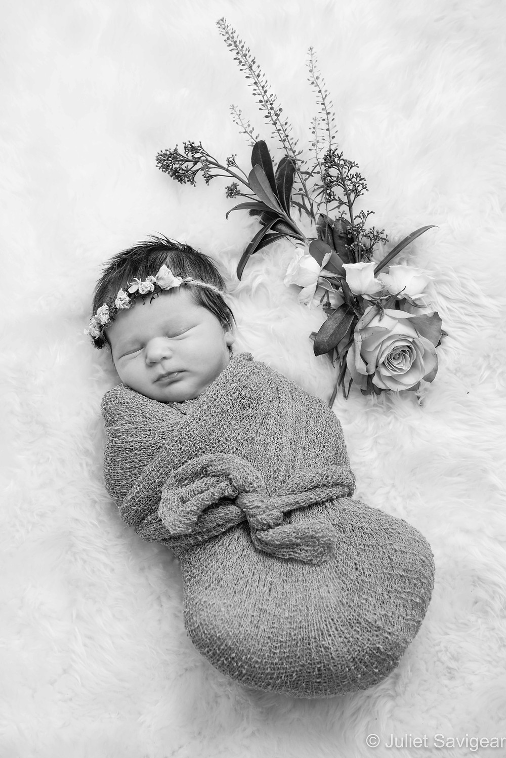 Baby Girl With Flowers - Newborn Baby Photography, Dulwich