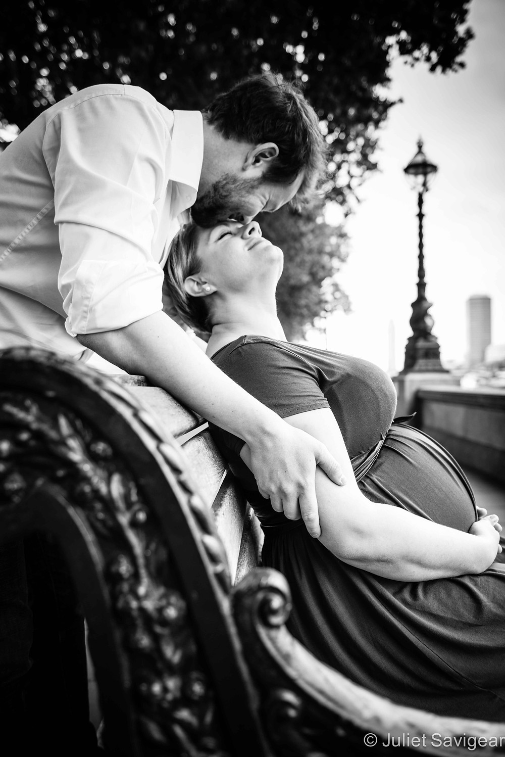 Bench By The Thames - Maternity Photography, London