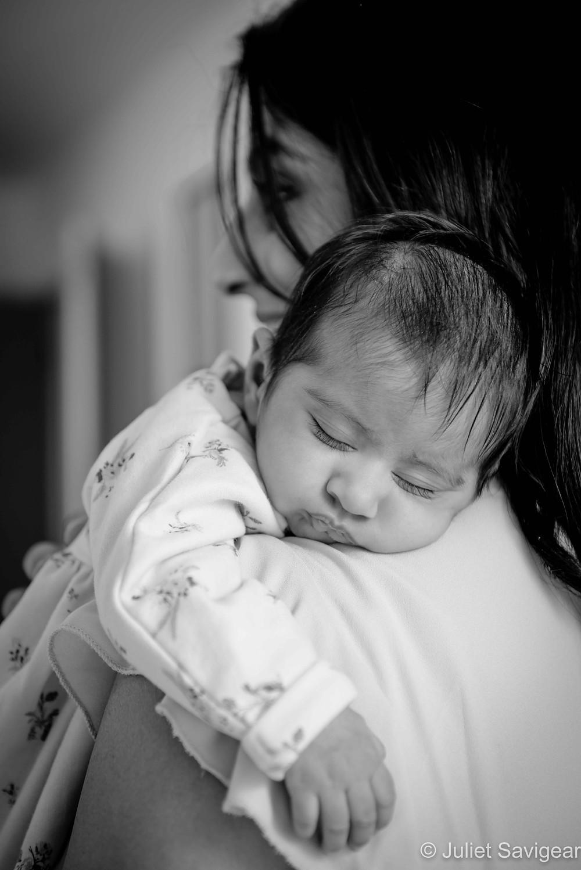 Sleeping baby on shoulder