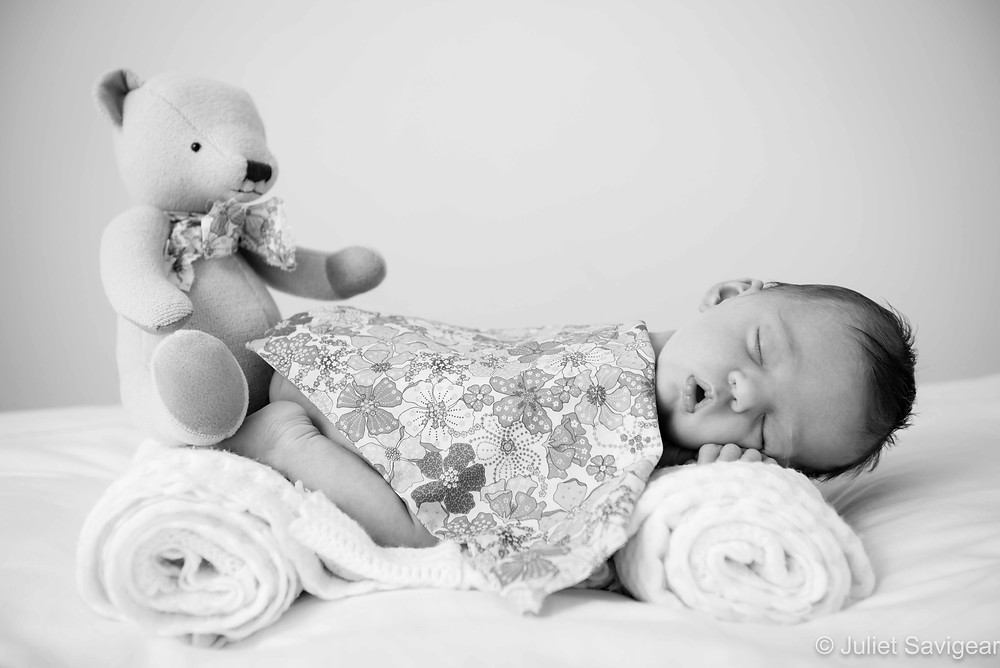 Sleeping With Teddy - Newborn Baby Photography, Canary Wharf